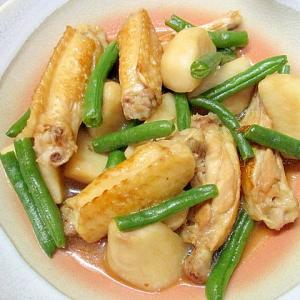 冷凍野菜と鶏手羽中の煮物
