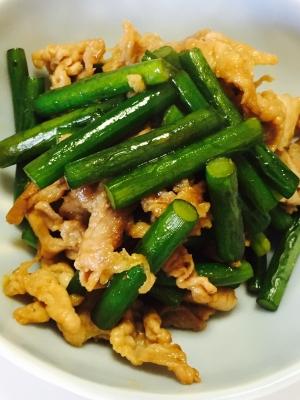簡単☆にんにくの芽と豚肉の甘辛炒め