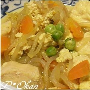 豆腐とモヤシ、胸肉のカレー煮