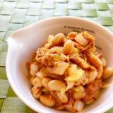 蒸し大豆とツナのケチャップ炒め