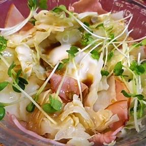 超簡単、レンチンキャベツハム卵和風サラダ