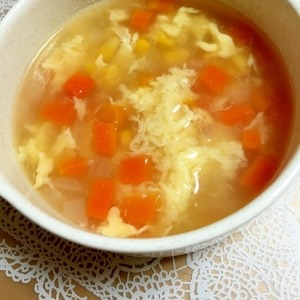 子供は大好き♡コーンと野菜のかきたまスープ♪