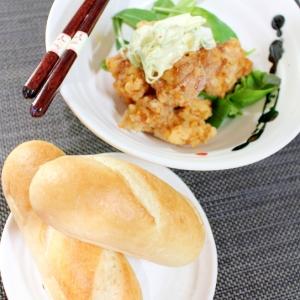 冷凍パン★プチパンと唐揚げ和風タルタルしっかり朝食
