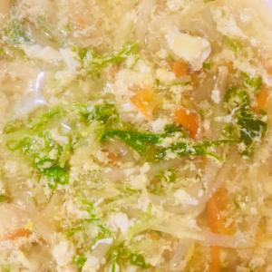 水菜ともやしの卵とじスープ