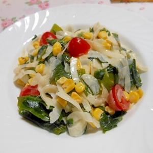 新玉葱とわかめ&コーン・トマトの簡単サラダ