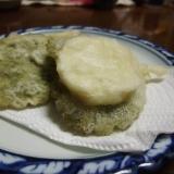 ユキノシタと長芋の天ぷら