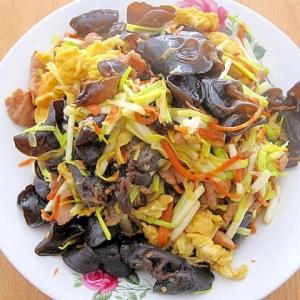 黄ニラとたまごときくらげの炒め物