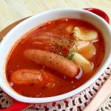 すいとんモッチモチ〜♪温まるオニオントマトスープ