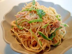 餃子のたれで ❤鮭とピーマンの中華風サラスパ❤