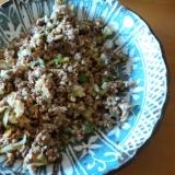 ミンチ・野菜・卵のカレー醤油炒め