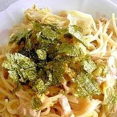 白菜とツナのしょうゆマヨパスタ