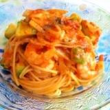 えびとアボカドの簡単トマトクリームスパゲティ
