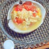 お酒がすすむ、ほっき貝とトマトの卵とじ