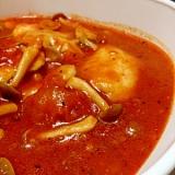 簡単♪むね肉とキノコのトマト煮込~フライパンで~