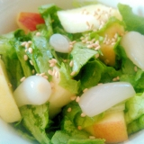 リンゴらっきょうグリーンカールのサラダ