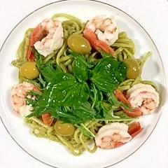 海老と水菜の冷製パスタ