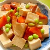 高野豆腐とさつまあげ人参の煮物