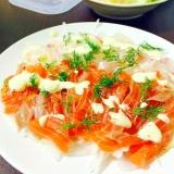 サーモンと鯛のカルパッチョ★マヨにんにくソース