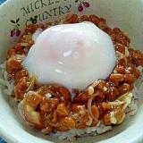納豆の食べ方-秋茗荷&温たま♪