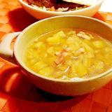 白菜とじゃがいもとベーコンの和風コンソメスープ