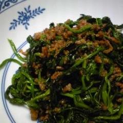 法蓮草と挽肉炒め