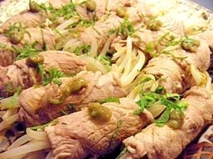 モヤシの豚巻き蒸し焼き✿安ウマおつまみ✿
