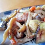 茄子人参豚バラ人参葉味醂醤油焼き