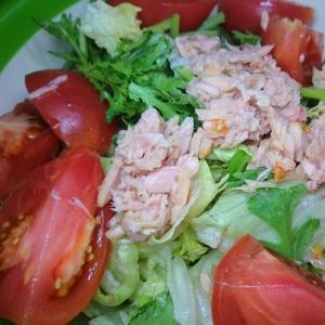 レタス 春菊 トマトのシーチキン青じそサラダ