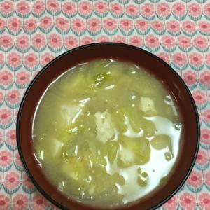 キャベツと玉ねぎとお豆腐のお味噌汁♫