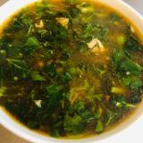 モロヘイヤとオクラのキムチスープ