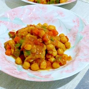 鶏肉とひよこ豆のカレー風味煮