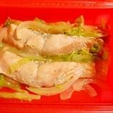ルクエで、鮭とキャベツのにんにく味噌バター蒸し