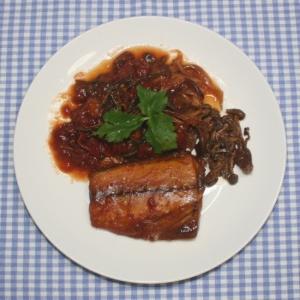 ポリ袋レシピ☆サバの干物と乾燥野菜のトマト煮込み