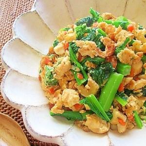菜の花とちくわ入り炒り豆腐