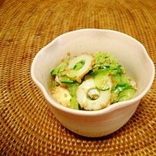 丁子麩ときゅうりとちくわの酢味噌和え