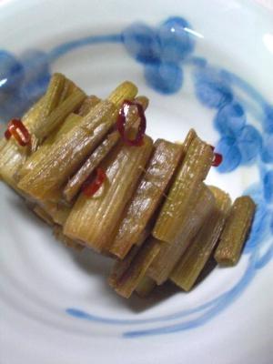 ふきの唐辛子麺つゆ炒め煮