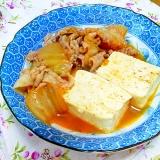 白菜キムチで肉豆腐