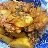 ナスとジャガイモと玉ねぎのひき肉炒め
