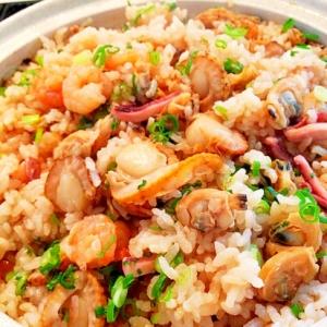 土鍋で海鮮炊き込みご飯