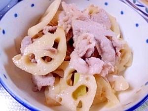 肉に合う漬け込みダレで 豚肉とハスの炒め物。
