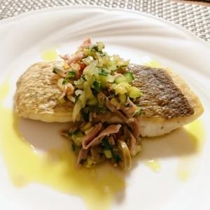 鯛のムニエル 野菜ソースがけ
