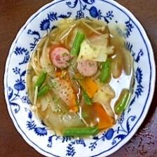 野菜、えのき、ウインナーの洋風スープ