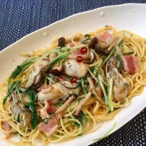 牡蠣のパスタ和風ペペロンチーノ