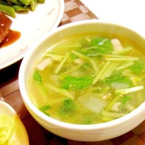 そらまめ豆苗のスープ