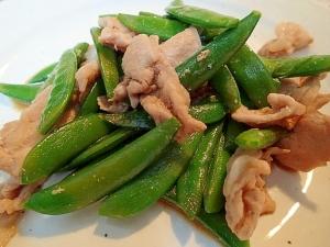 ❤豚肉とスナップエンドウのにんにく醤油炒め❤