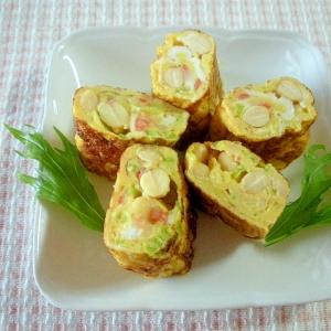 ☆ゆで大豆とカニカマとねぎのソース卵焼き☆