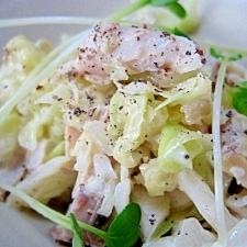 ノルウェー塩サバのコールスローサラダ。