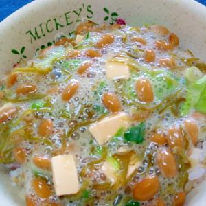 納豆の食べ方-めかぶ&トマトチーズ♪