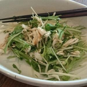 水菜と鶏ささみの爽やか梅風味サラダ