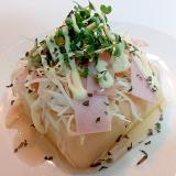 キャベツとハムとマスタードスプラウトの卵豆腐